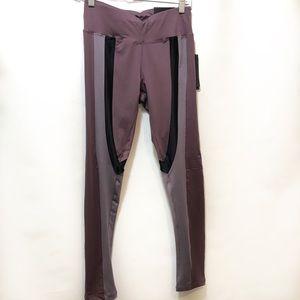 BCBG Max Azria purple striped workout leggings, M